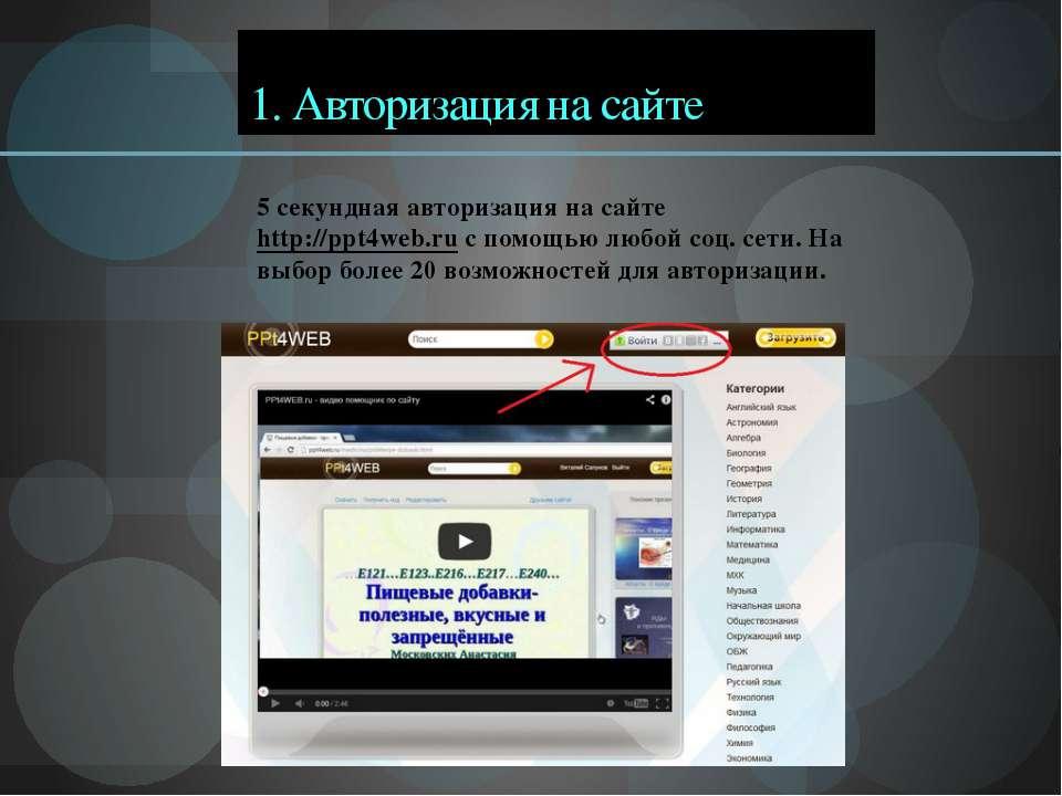 1. Авторизация на сайте 5 секундная авторизация на сайте http://ppt4web.ru с ...