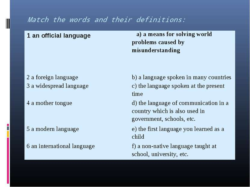 Match the words and their definitions: 1 an official language a) a means for ...
