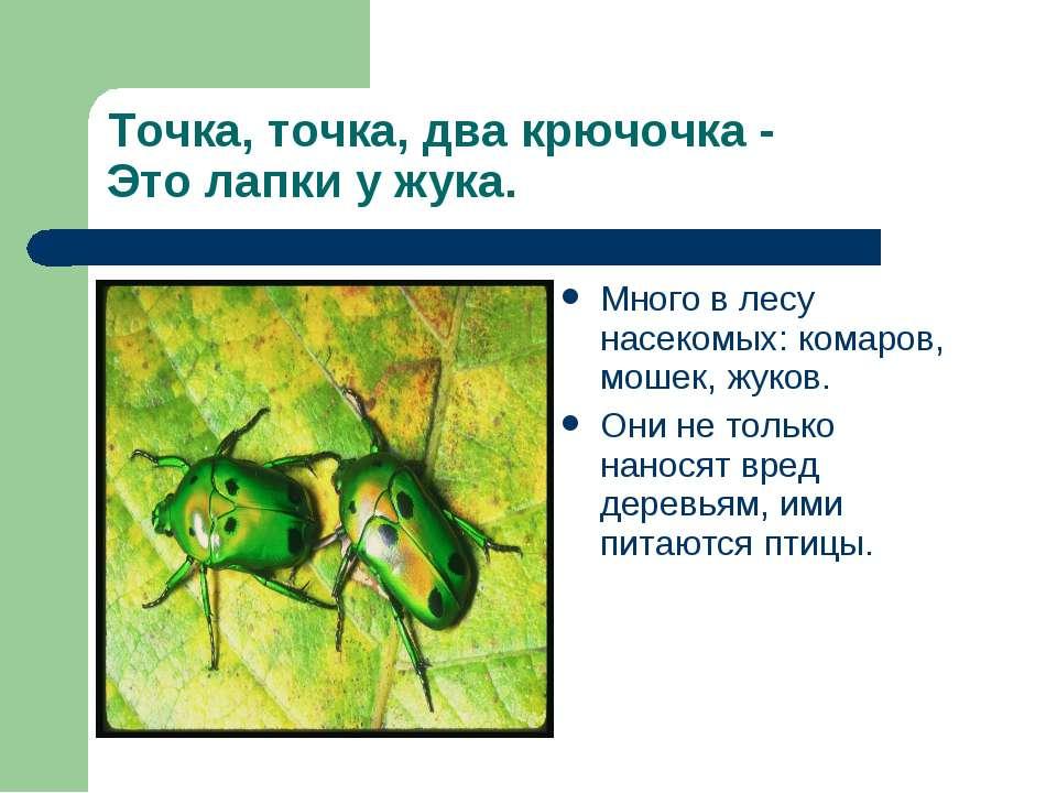 Точка, точка, два крючочка - Это лапки у жука. Много в лесу насекомых: комаро...