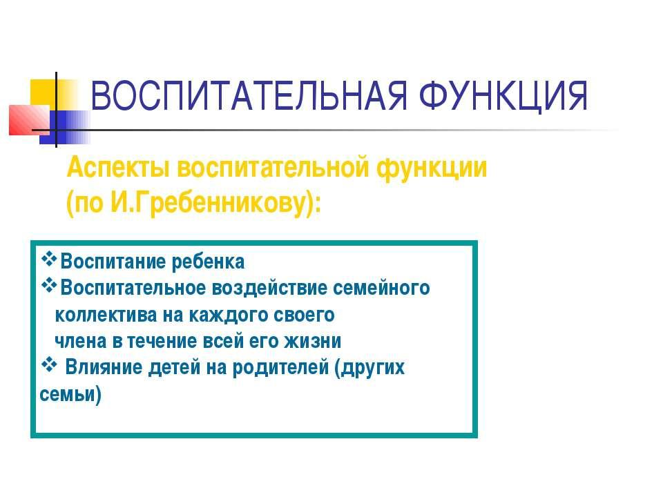 ВОСПИТАТЕЛЬНАЯ ФУНКЦИЯ Аспекты воспитательной функции (по И.Гребенникову): Во...