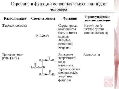 Строение и функции основных классов липидов человека Класс липидов Схема стро...