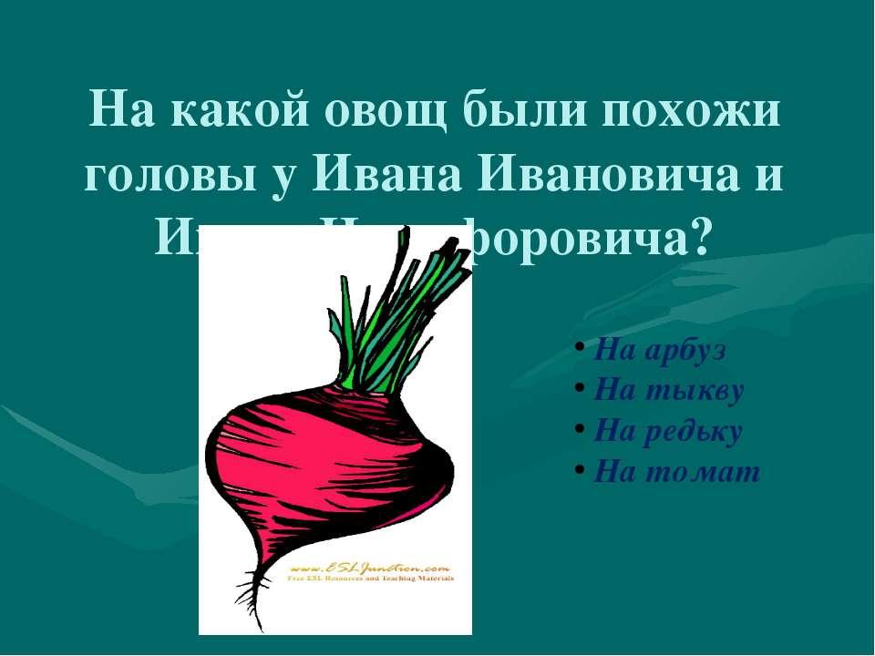 На какой овощ были похожи головы у Ивана Ивановича и Ивана Никифоровича? На а...