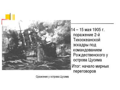 14 – 15 мая 1905 г. поражение 2-й Тихоокеанской эскадры под командованием Рож...