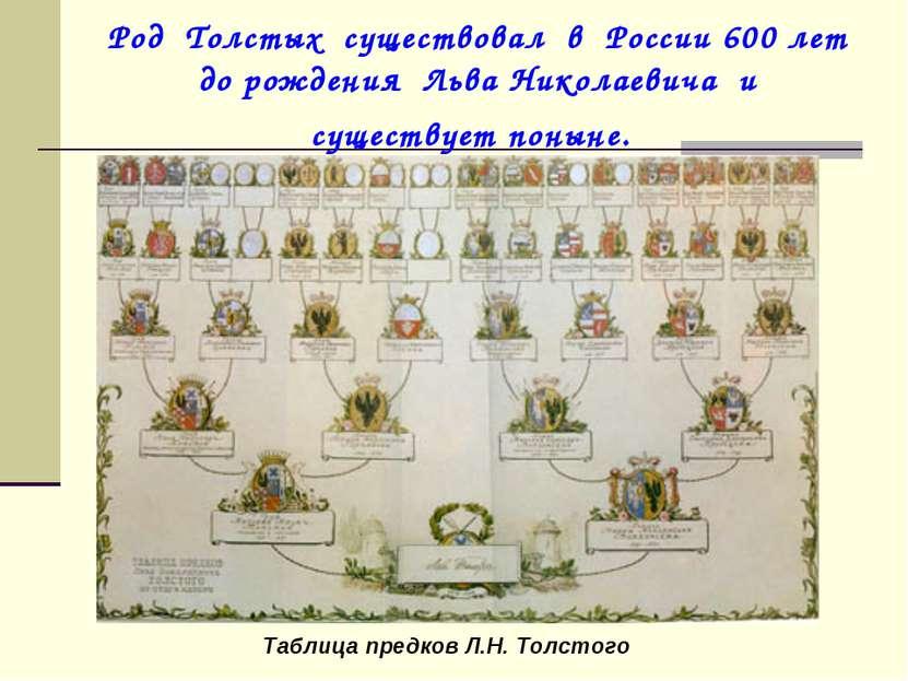 Род Толстых существовал в России 600 лет до рождения Льва Николаевича и сущес...