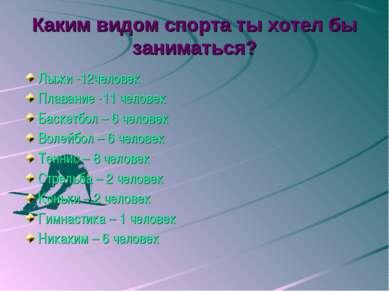 Каким видом спорта ты хотел бы заниматься? Лыжи -12человек Плавание -11 челов...