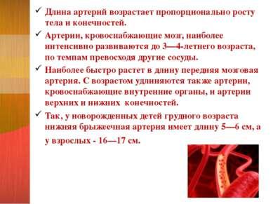Длина артерий возрастает пропорционально росту тела и конечностей. Артерии, к...