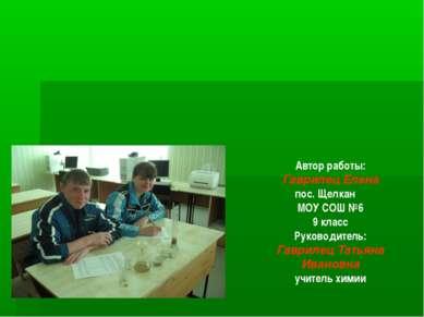 Автор работы: Гаврилец Елена пос. Щелкан МОУ СОШ №6 9 класс Руководитель: Гав...