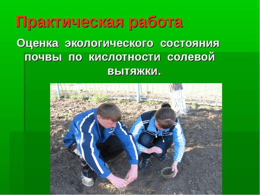Практическая работа Оценка экологического состояния почвы по кислотности...