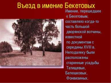 Имение, перешедшее к Бекетовым, составляло когда-то часть большой дворянской ...