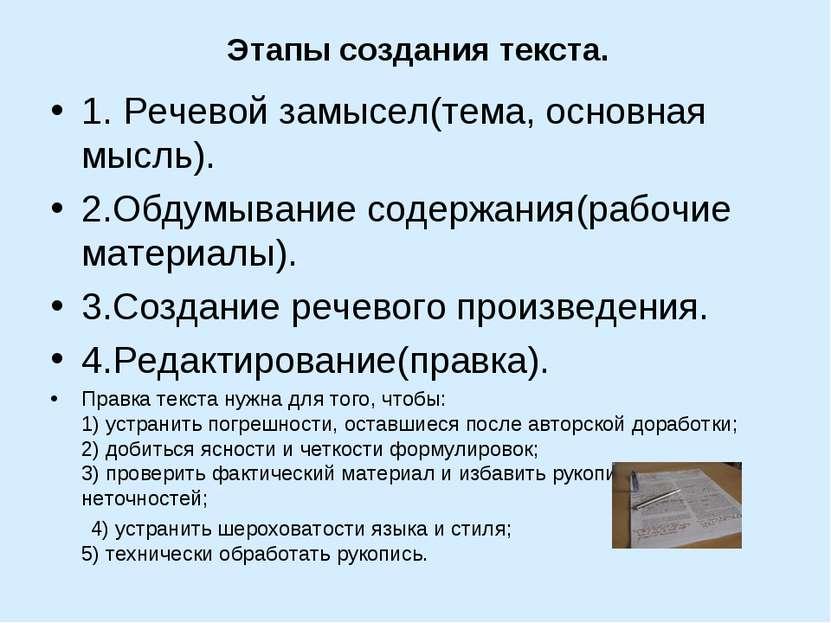 Этапы создания текста. 1. Речевой замысел(тема, основная мысль). 2.Обдумывани...
