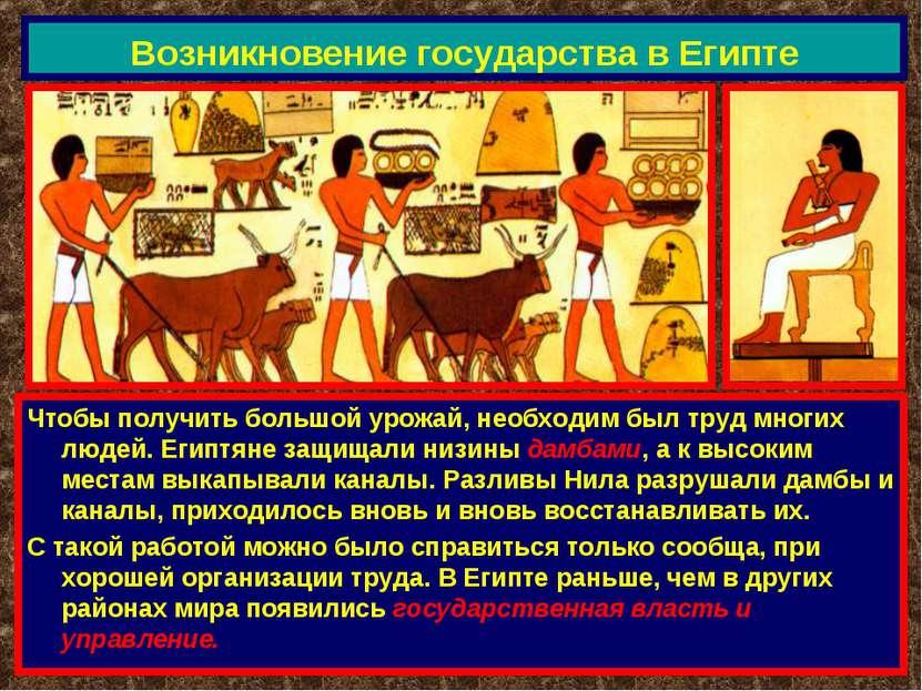 Возникновение государства в Египте Чтобы получить большой урожай, необходим б...