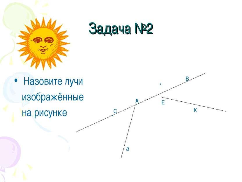 Задача №2 Назовите лучи . изображённые . на рисунке . С В Е К А а