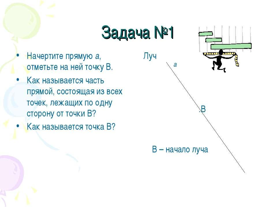 Задача №1 Начертите прямую а, отметьте на ней точку В. Как называется часть п...