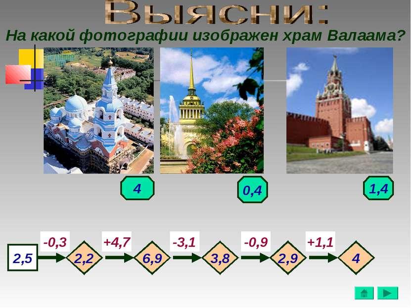 На какой фотографии изображен храм Валаама? 2,5 -0,3 -3,1 -0,9 +1,1 +4,7 2,2 ...