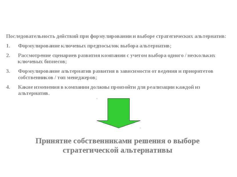 Последовательность действий при формулировании и выборе стратегических альтер...