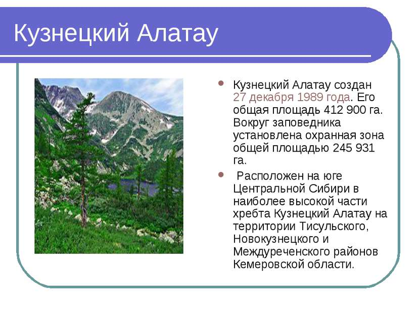 Кузнецкий Алатау Кузнецкий Алатау создан 27 декабря 1989 года. Его общая площ...