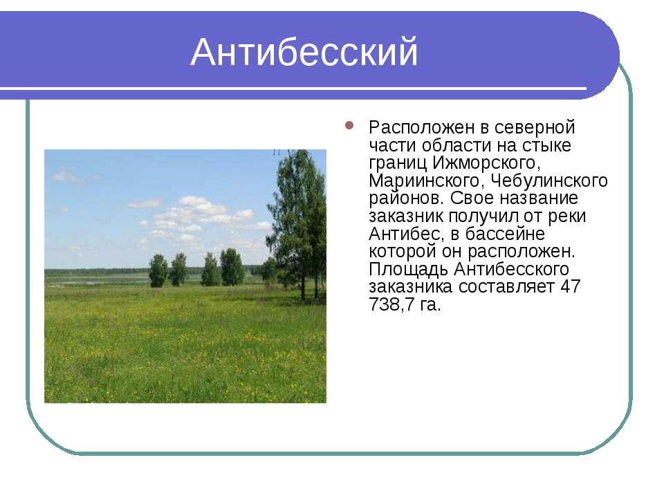 Антибесский Расположен в северной части области на стыке границ Ижморского, М...
