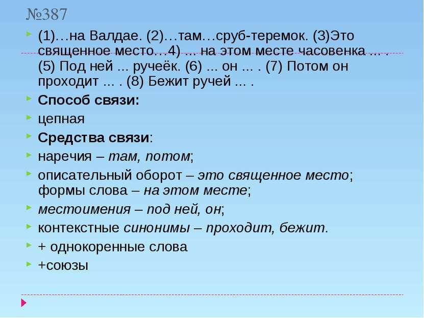 №387 (1)…на Валдае. (2)…там…сруб-теремок. (3)Это священное место…4) ... на эт...