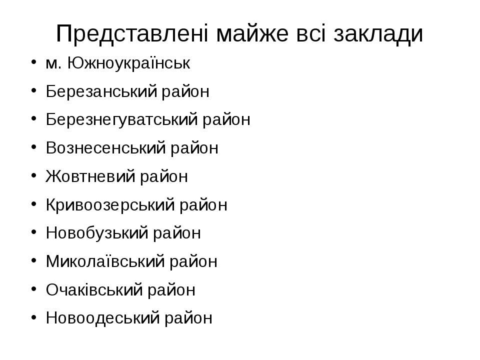 Представлені майже всі заклади м. Южноукраїнськ Березанський район Березнегув...