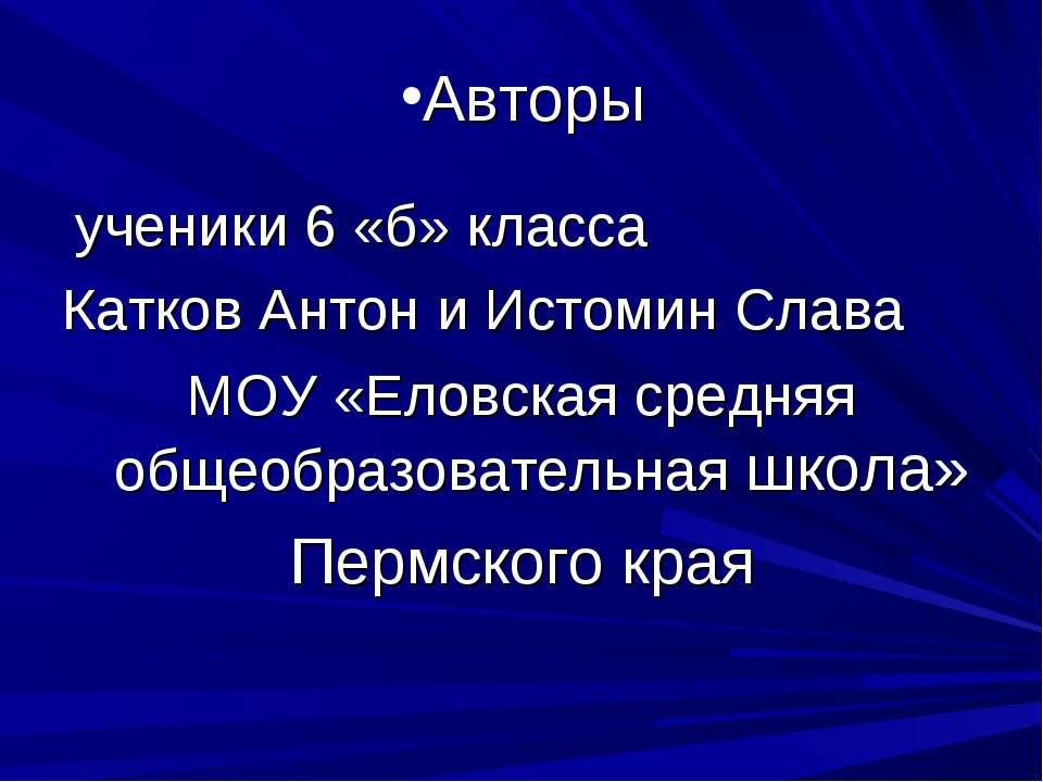 Авторы ученики 6 «б» класса Катков Антон и Истомин Слава МОУ «Еловская средня...