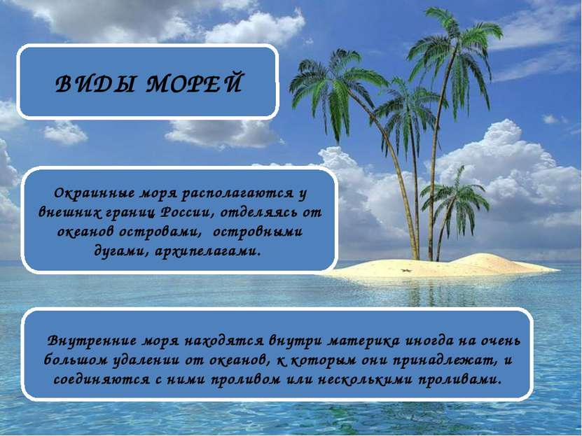 ВИДЫ МОРЕЙ Окраинные моря располагаются у внешних границ России, отделяясь от...