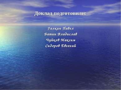 Доклад подготовили: Галкин Павел Батин Владислав Чуйков Максим Сидоров Евгений