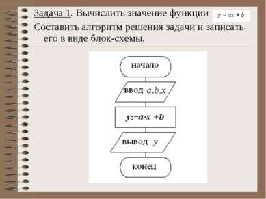 Задача 1. Вычислить значение функции Составить алгоритм решения задачи и запи...