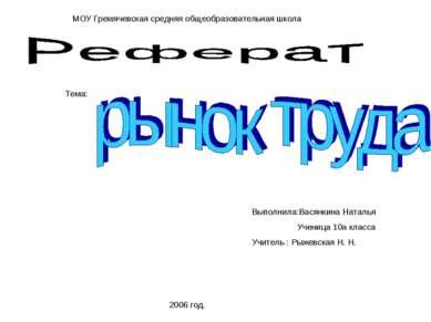 МОУ Гремячевская средняя общеобразовательная школа Тема: 2006 год. Выполнила:...