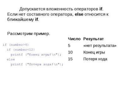 Допускается вложенность операторов if. Если нет составного оператора, else от...