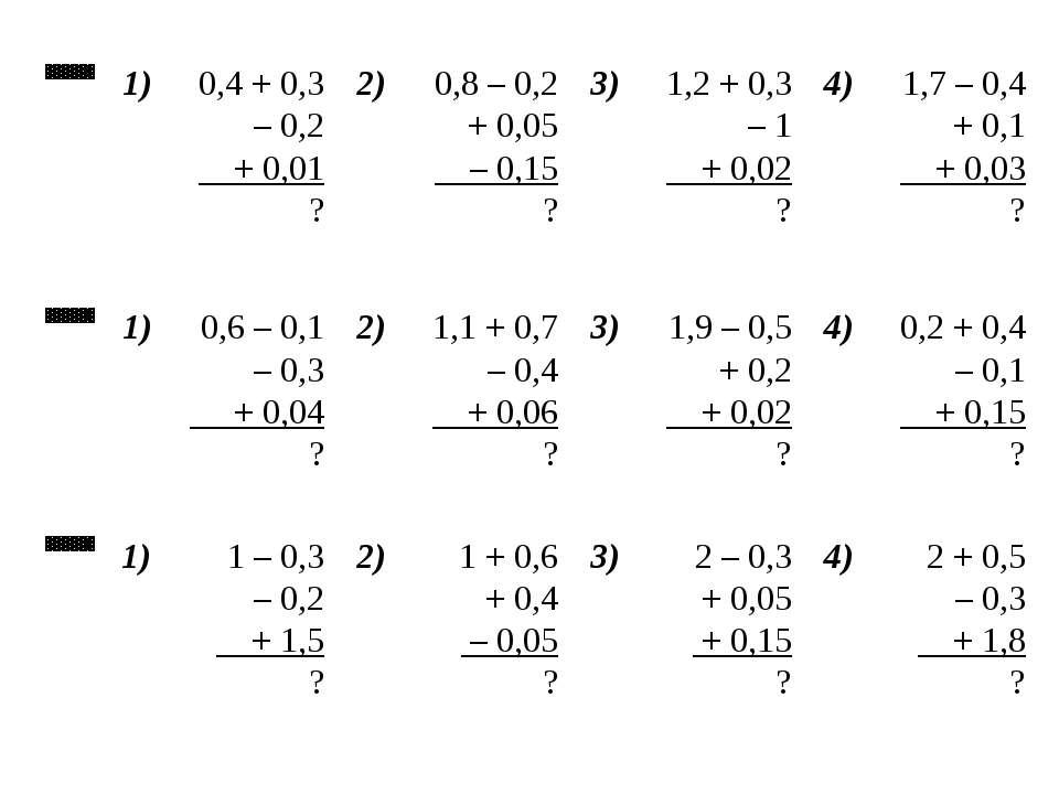 А 1) 0,4 + 0,3 – 0,2 + 0,01 ? 2) 0,8 – 0,2 + 0,05 – 0,15 ? 3) 1,2 + 0,3 – 1 +...