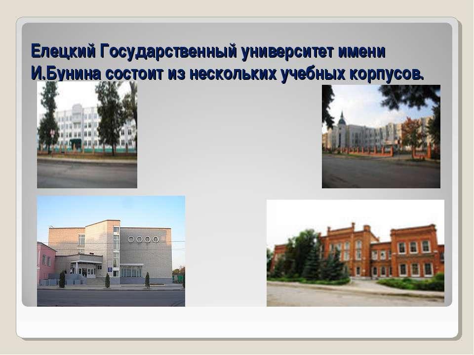 Елецкий Государственный университет имени И.Бунина состоит из нескольких учеб...