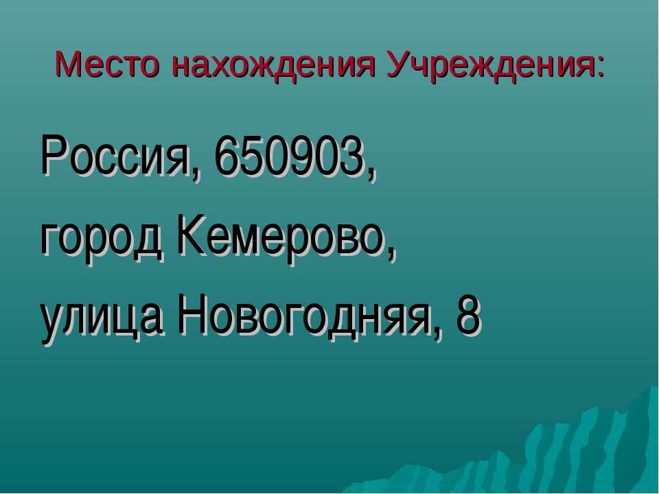 Место нахождения Учреждения: Россия, 650903, город Кемерово, улица Новогодняя, 8
