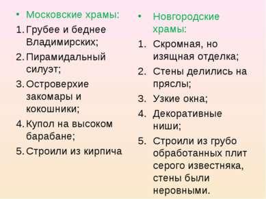 Московские храмы: Грубее и беднее Владимирских; Пирамидальный силуэт; Острове...