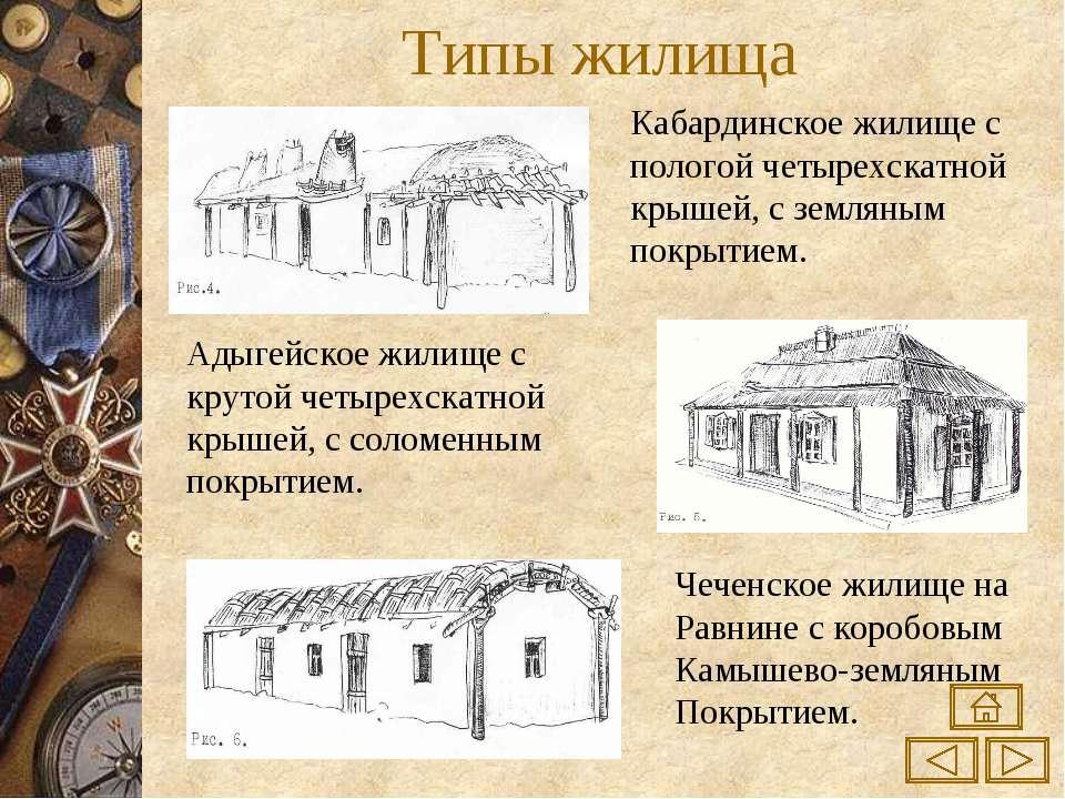 Типы жилища Кабардинское жилище с пологой четырехскатной крышей, с земляным п...
