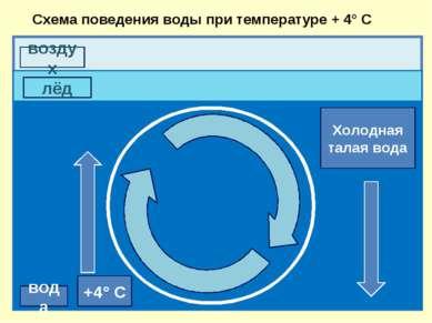 воздух вода лёд +4° С Холодная талая вода Схема поведения воды при температур...