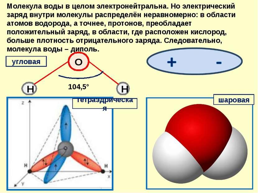 Молекула воды в целом электронейтральна. Но электрический заряд внутри молеку...