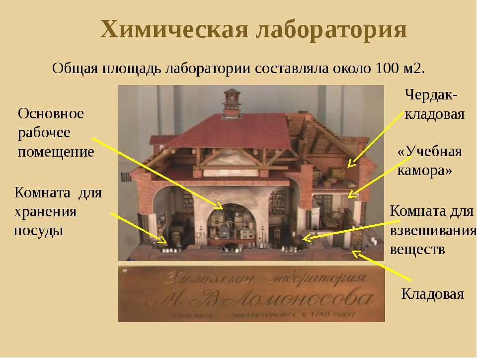 Общая площадь лаборатории составляла около 100 м2. Химическая лаборатория «Уч...