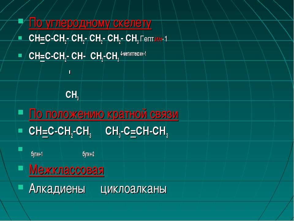 По углеродному скелету CH=C-CH2- CH2- CH2- CH2- CH3 Гептин-1 CH=C-CH2- CH- CH...