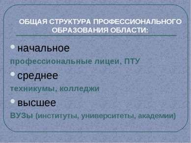 ОБЩАЯ СТРУКТУРА ПРОФЕССИОНАЛЬНОГО ОБРАЗОВАНИЯ ОБЛАСТИ: начальное профессионал...