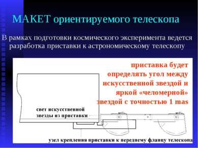 МАКЕТ ориентируемого телескопа В рамках подготовки космического эксперимента ...