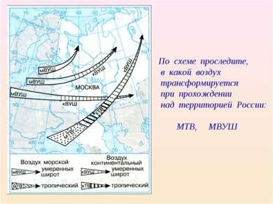 По схеме проследите, в какой воздух трансформируется при прохождении над терр...