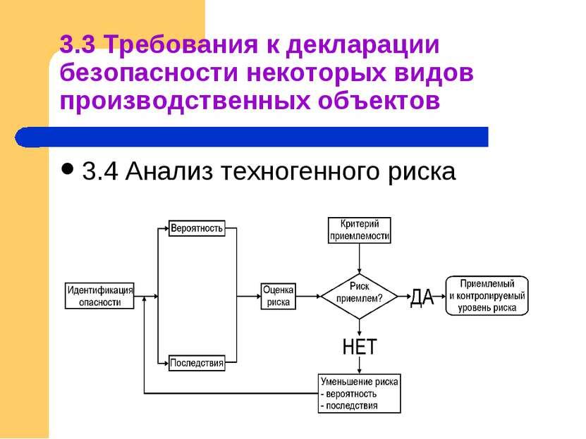3.3 Требования к декларации безопасности некоторых видов производственных объ...