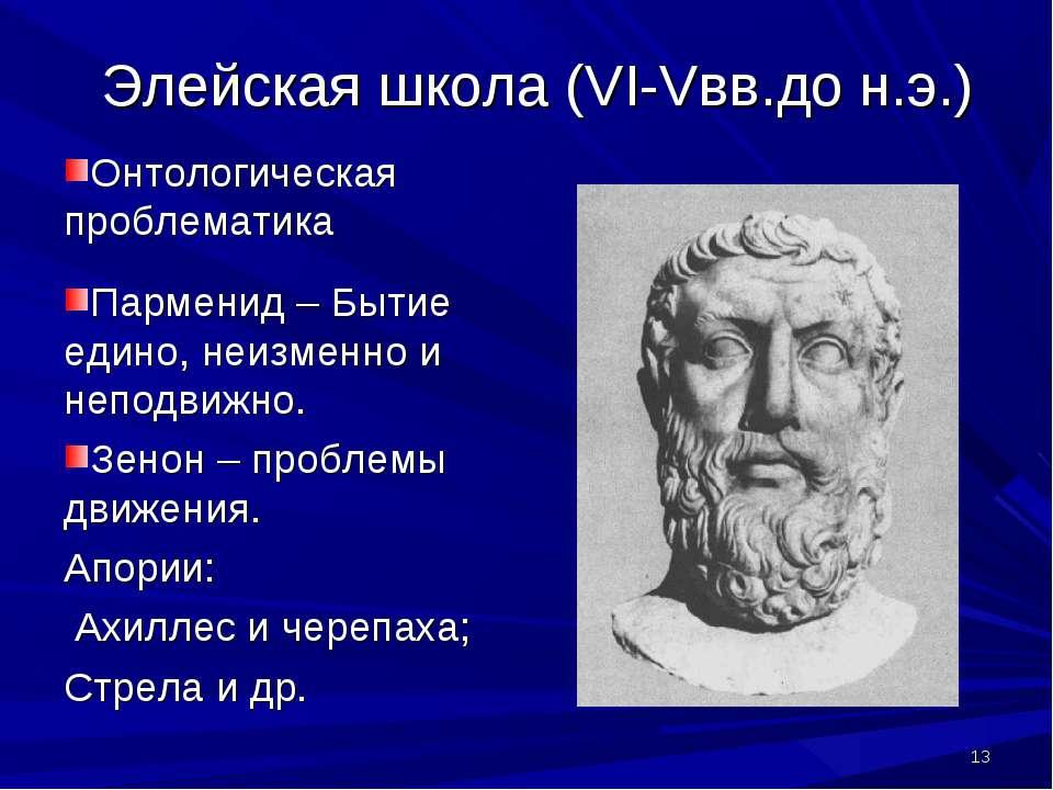 * Элейская школа (VI-Vвв.до н.э.) Онтологическая проблематика Парменид – Быти...