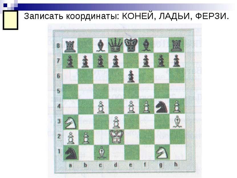 Записать координаты: КОНЕЙ, ЛАДЬИ, ФЕРЗИ.