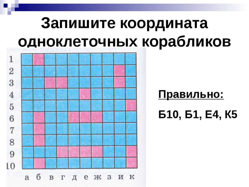Запишите координата одноклеточных корабликов Правильно: Б10, Б1, Е4, К5