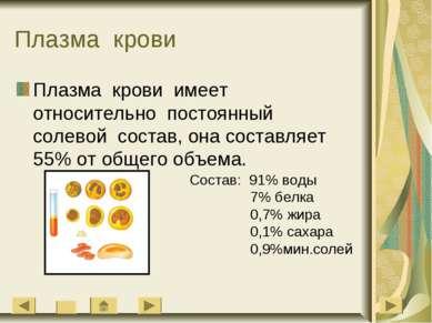 Плазма крови Плазма крови имеет относительно постоянный солевой состав, она с...