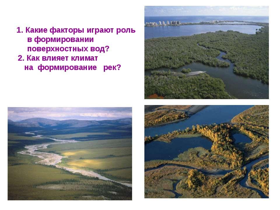 1. Какие факторы играют роль в формировании поверхностных вод? 2. Как влияет ...