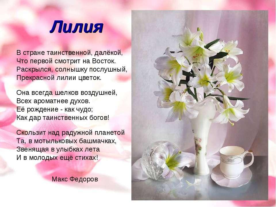 поздравления стихи по имени лилия разрывов