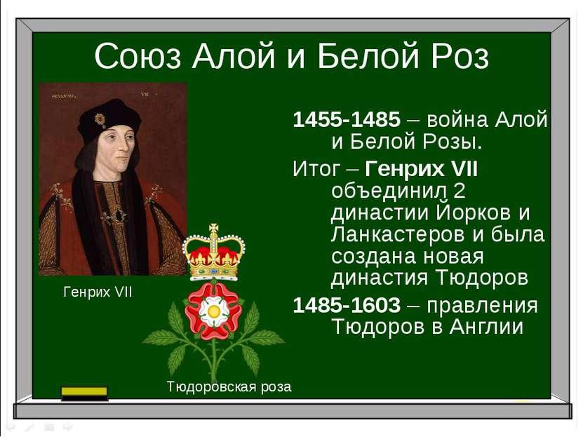 Союз Алой и Белой Роз 1455-1485 – война Алой и Белой Розы. Итог – Генрих VII ...