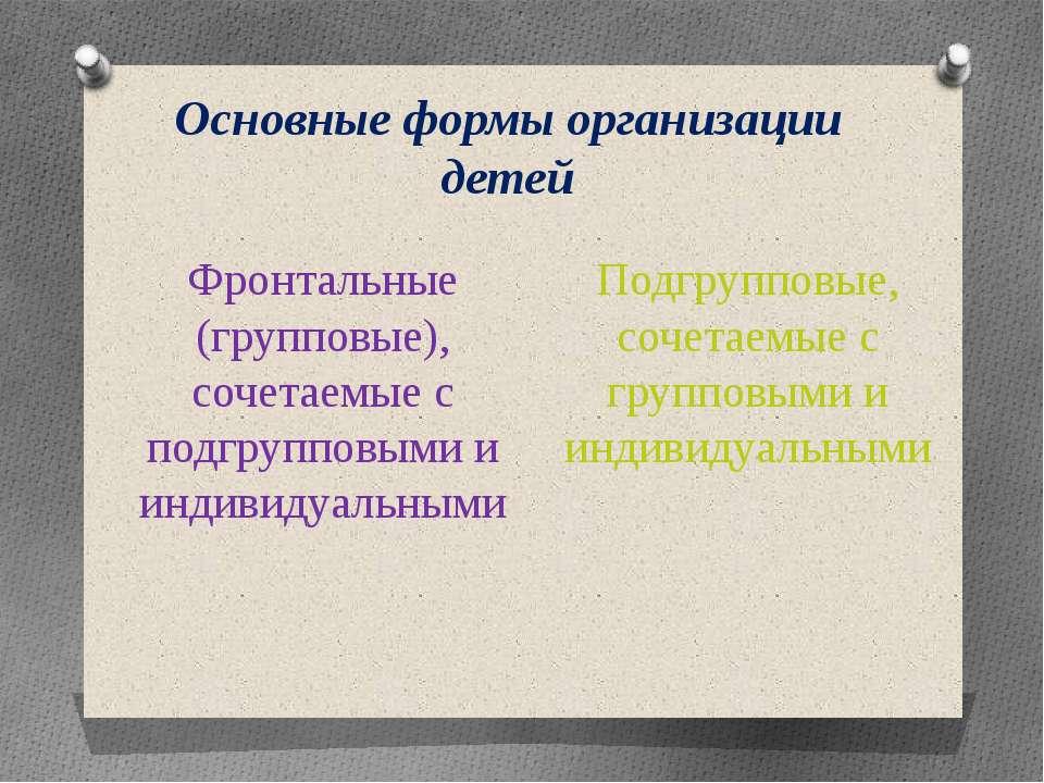 Основные формы организации детей Фронтальные (групповые), сочетаемые с подгру...